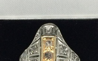 oro giallo 14 kt Silver, White gold, Yellow gold, ancient massive ring - Ring, gold silver and diamond roses 8.64 grams - 1.00 ct Diamond - Diamonds