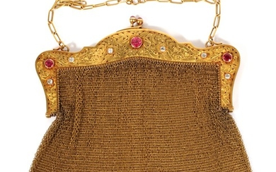 14KT YELLOW GOLD RUBY DIAMOND EVENING BAG C. 1900