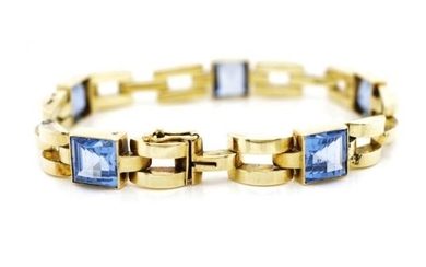 14ct yellow gold and topaz bracelet with brick links, Marked...