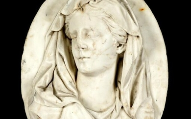 17th Century Carved Italian Marble Bust Plaque