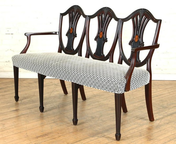 19TH C ADAMS STYLE MAHOGANY UPHOLSTERED SETTEE