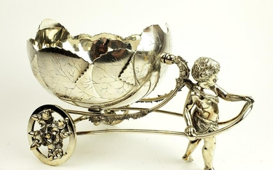 19th C. German Silverplated Figural Carriage