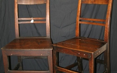 2 Early 19c Planked Seated Elm Dining Chairs