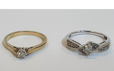 2 x 9ct Solitaire rings, one yellow gold and Diamond (0.1ct)...