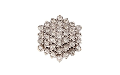 A DIAMOND CLUSTER RING, of approx. 2.00ct in total, modelled...