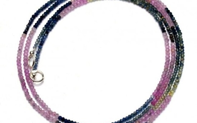 25.00 ct. Multi color Sapphire Rondelle Bead Necklace