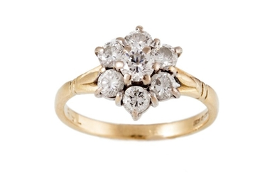 A DIAMOND CLUSTER RING, of approx. 1.06ct in total, mounted ...