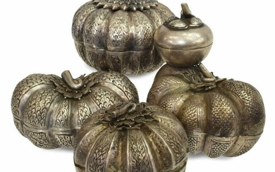 (5) CHINESE SILVER PUMPKIN-FORM COVERED BOXES