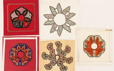 5pc Chinese Silk Embroidered Collars Mounted on Cards
