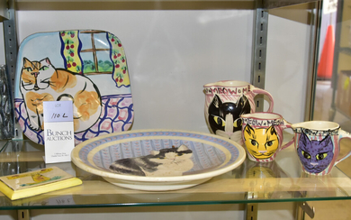 (6) Pcs Cat Related Pottery