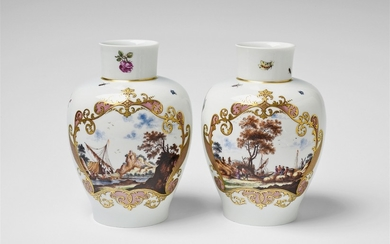 A pair of Meissen porcelain vases with mercha ...