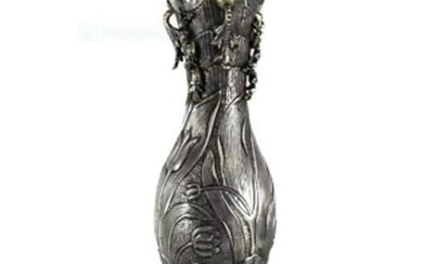 900 Silver Niello Footed Vase, Art Nouveau