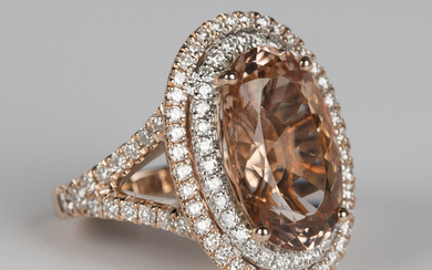 A 14ct rose gold, peach morganite and diamond oval cluster ring, claw set with an oval cut peach mor