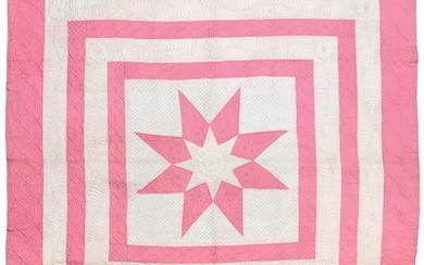 A 19th Century Pink and White Cotton Strippy Quilt, with...