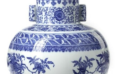 A CHINESE BLUE AND WHITE HU VASE, CHINA, QING DYNASTY