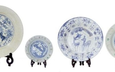A COLLECTION OF SIX CHINESE CERAMIC AND PORCELAIN PROVINCIAL PLATES AND DISHES