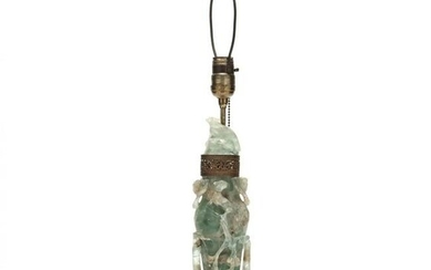 A Chinese Green Carved Hardstone Lamp
