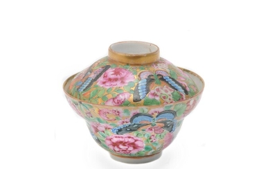 A Chinese famille rose 'Butterflies' covered bowl