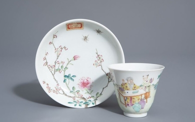 A Chinese famille rose cup and a saucer...