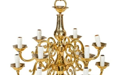 A Dutch Baroque Style Brass Twelve-Light Chandelier