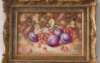 A Fine Set Of Three Porcelain Harry Aynton Limited Edition Fruit Plaques, Together With A Framed Certificate Plaque