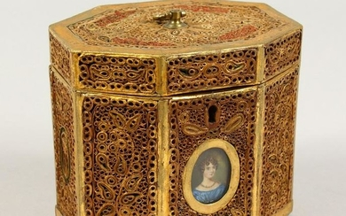 A GEORGE III ROLLED GILDED PAPER TEA CADDY, octagonal