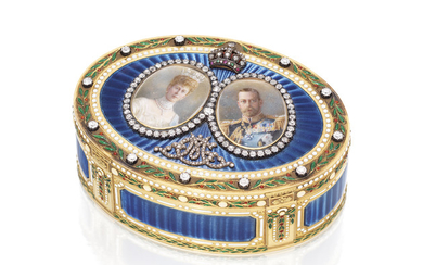 A GEORGE V JEWELLED ENAMELLED GOLD ROYAL PRESENTATION SNUFF-BOX, MARK OF SEBASTIAN GARRARD, LONDON, 1911