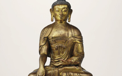 A GILT-BRONZE REPOUSSÉ FIGURE OF VELAMA BUDDHA, QIANLONG INCISED SEVEN-CHARACTER MARK AND OF THE PERIOD (1736-1795)