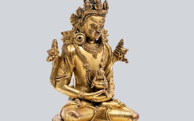 A Gilt Bronze Figure of Amitayus, Pala Revival Style, China, 17-18th Century.