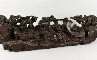 A LARGE CHINESE CARVED WOOD GROUP OF FIGURES AND TREES.