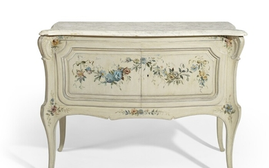 A LOUIS XV STYLE CREAM AND POLYCHROME-PAINTED COMMODE A VANTAUX, POSSIBLY SUPPLIED BY MAISON JANSEN, 20TH CENTURY