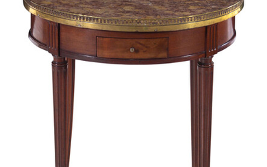 A Louis XVI Style Marble-Top Mahogany Bouillotte Table