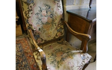 A Louis XVI style tapestry upholstered walnut fauteuil, widt...