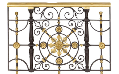 A Neoclassical Style Gilt Metal and Ebonized Railing