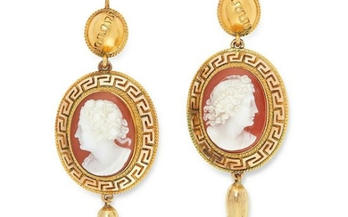 A PAIR OF ANTIQUE CAMEO EARRINGS in Etruscan Revival