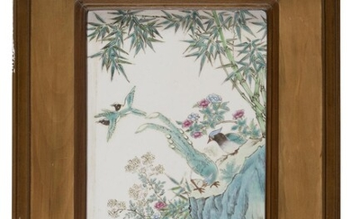 A PAIR OF CHINESE POLYCHROME ENAMELED PORCELAIN TILES FIRST HALF 20TH CENTURY.