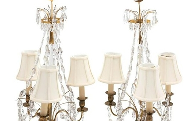 A Pair of French Gilt Brass, Marble and Cut Glass
