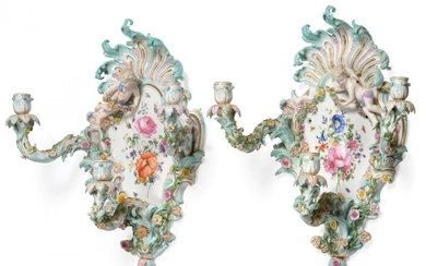 A Pair of Meissen Porcelain Three-Branch Wall Sconces, circa 1900,...