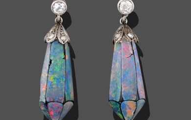 A Pair of Opal Doublet and Diamond Drop Earrings, the...