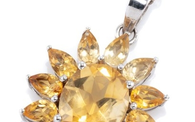 A STERLING SILVER CITRINE STARBURST PENDANT NECKLACE; centre bead claw set with an oval cut citrine of approx. 3.28ct to surround of...