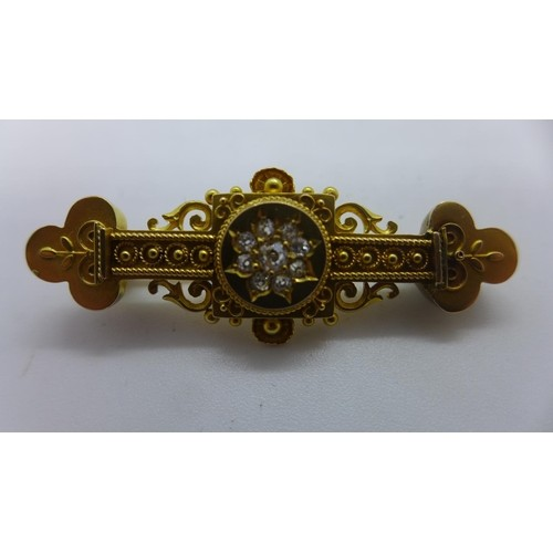 A Victorian style 18ct gold and diamond brooch, not hallmark...