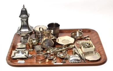 A collection of assorted silver, including a wine-taster with snake...