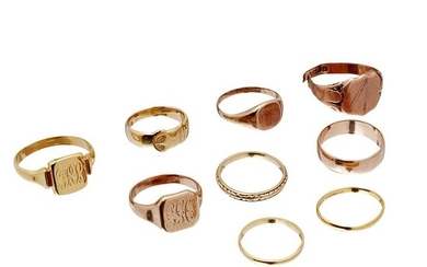 A collection of gold rings