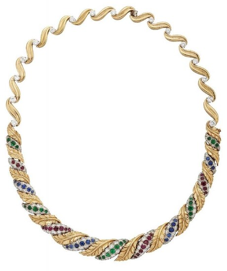 A diamond and gem-set necklace, the front...