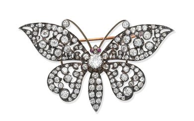 A diamond and ruby butterfly brooch, circa 1880