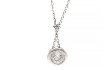 A diamond pendant set with a brilliant-cut diamond weighing app. 0.30 ct., mounted in 14k white gold. L. app. 43 cm. (2)
