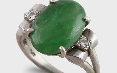 A jade, diamond, and platinum ring
