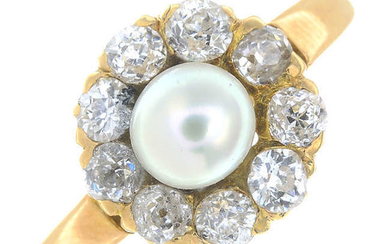 A late 19th century split pearl and old-cut diamond cluster ring.