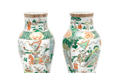 A pair of 19th Century Chinese famille verte vases