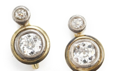 A pair of Belle Èpoque diamond ear pendants each set with old-cut diamonds weighing a total of app. 1.50 ct., mounted in platinum and 18k gold. Circa 1910. (2)